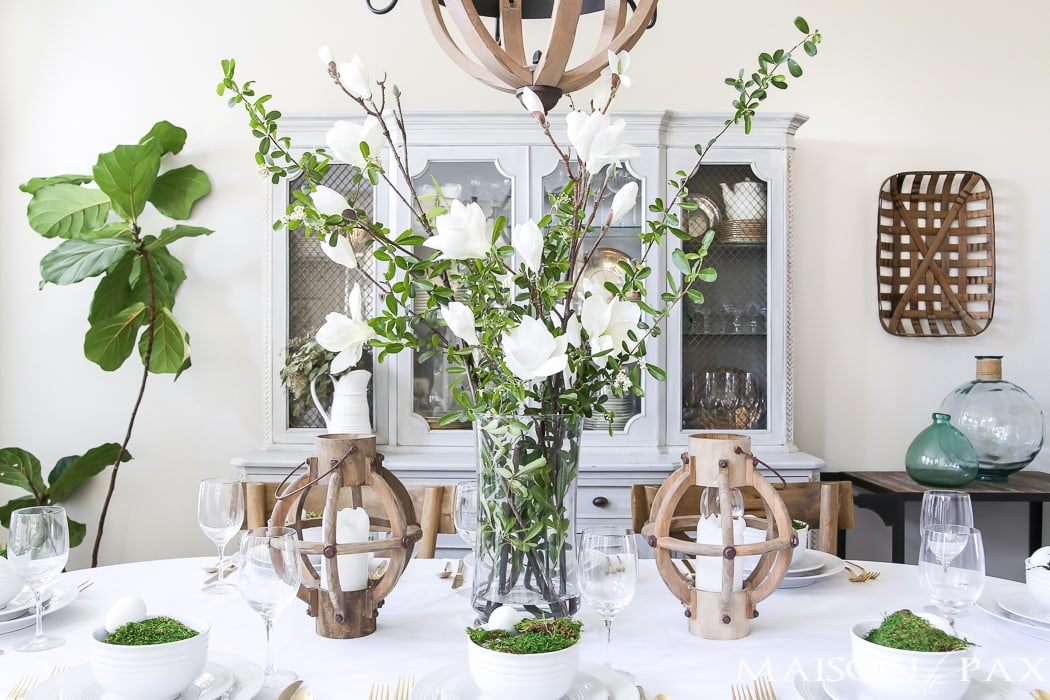 Green and White Easter decorating Ideas for the Dining Room- Maison de Pax