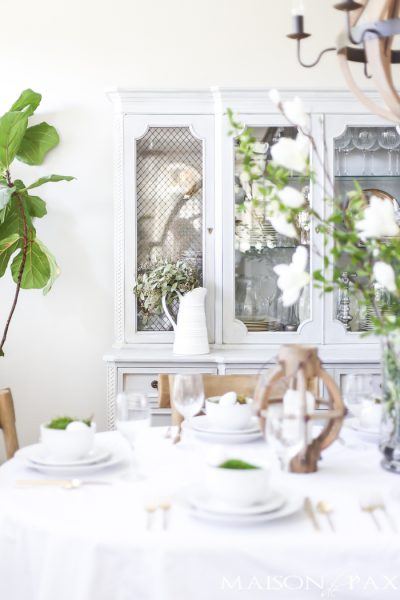 Green and White Easter Tablescape