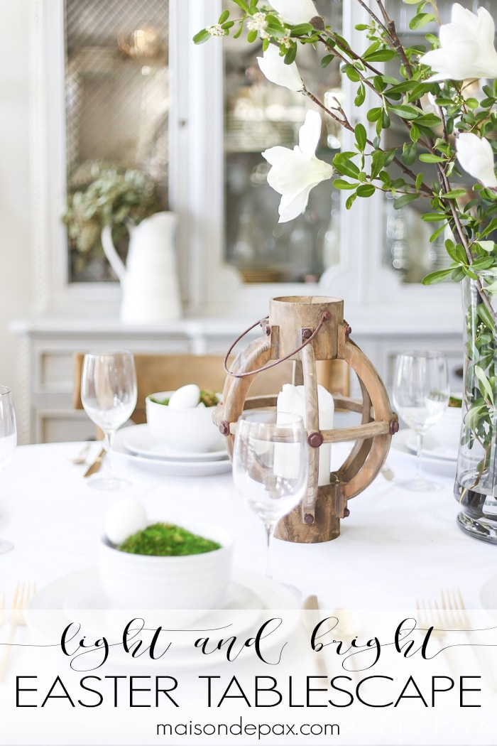 Looking for Easter table decorating ideas? This simple green and white Easter tablescape will bring a crisp, clean, serene feel to your space as you celebrate the new life that Easter has to offer.