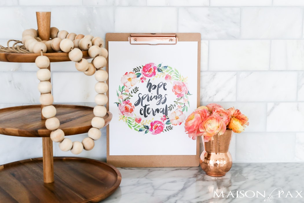 "Free Spring Printable! ""Hope Spring Eternal"" - this watercolor inspirational saying is perfect for spring decor. Click to download your own copy and find 29 other free spring printables!"