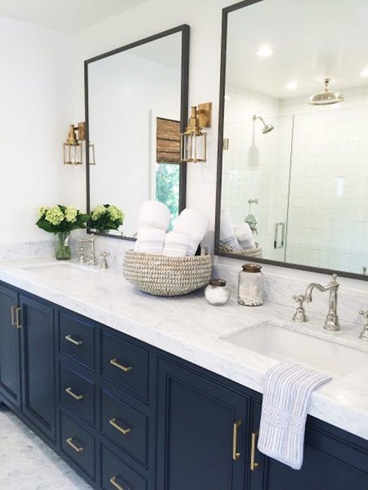 MindyGayer: gorgeous master bath with navy vanity, marble hex floors, marble countertops