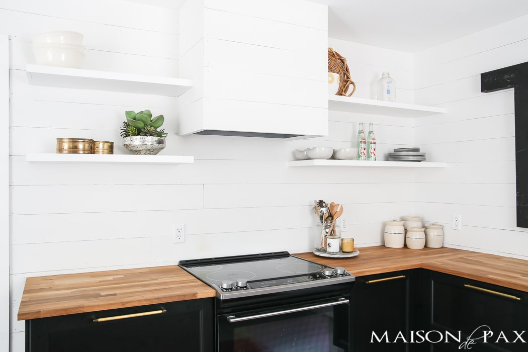 Kitchen with white shiplap- Maison de Pax
