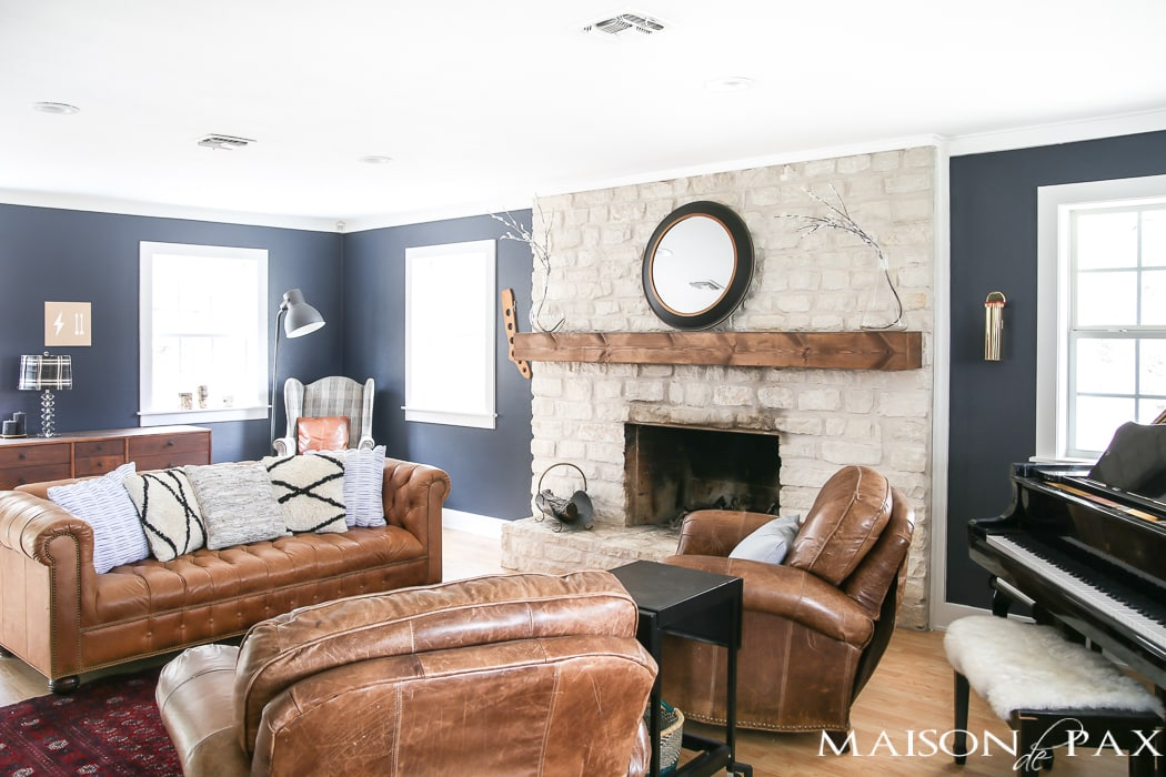 Inside The Living Room Kept Its Texas Charm With Large Stone Fireplace And Rustic Wood Mantel