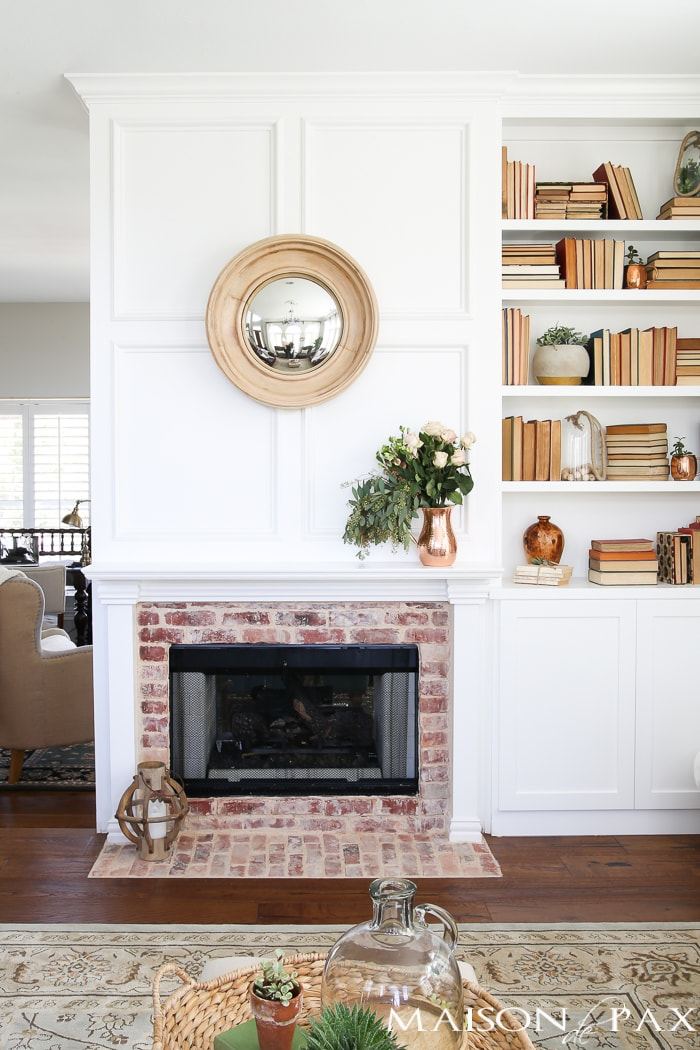 Antique Brick and White Molding Fireplace Makeover - Maison ...