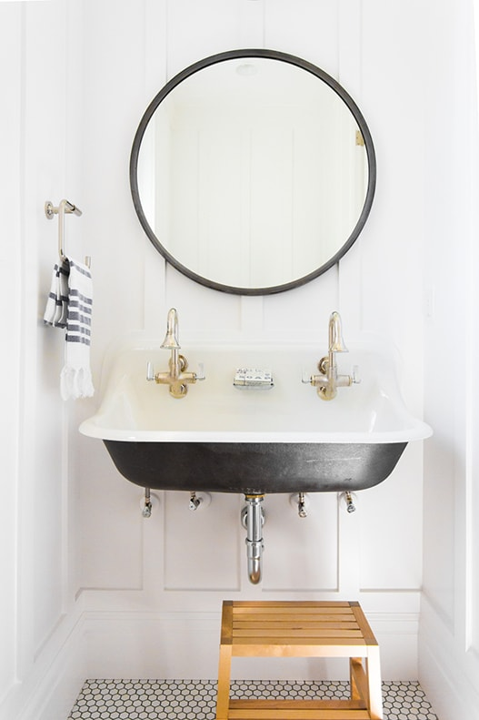 Studio McGee: Simple Mud Room With Double Sink, White Board And Batten,  White