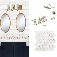 Navy and Marble Bathroom Design Plan