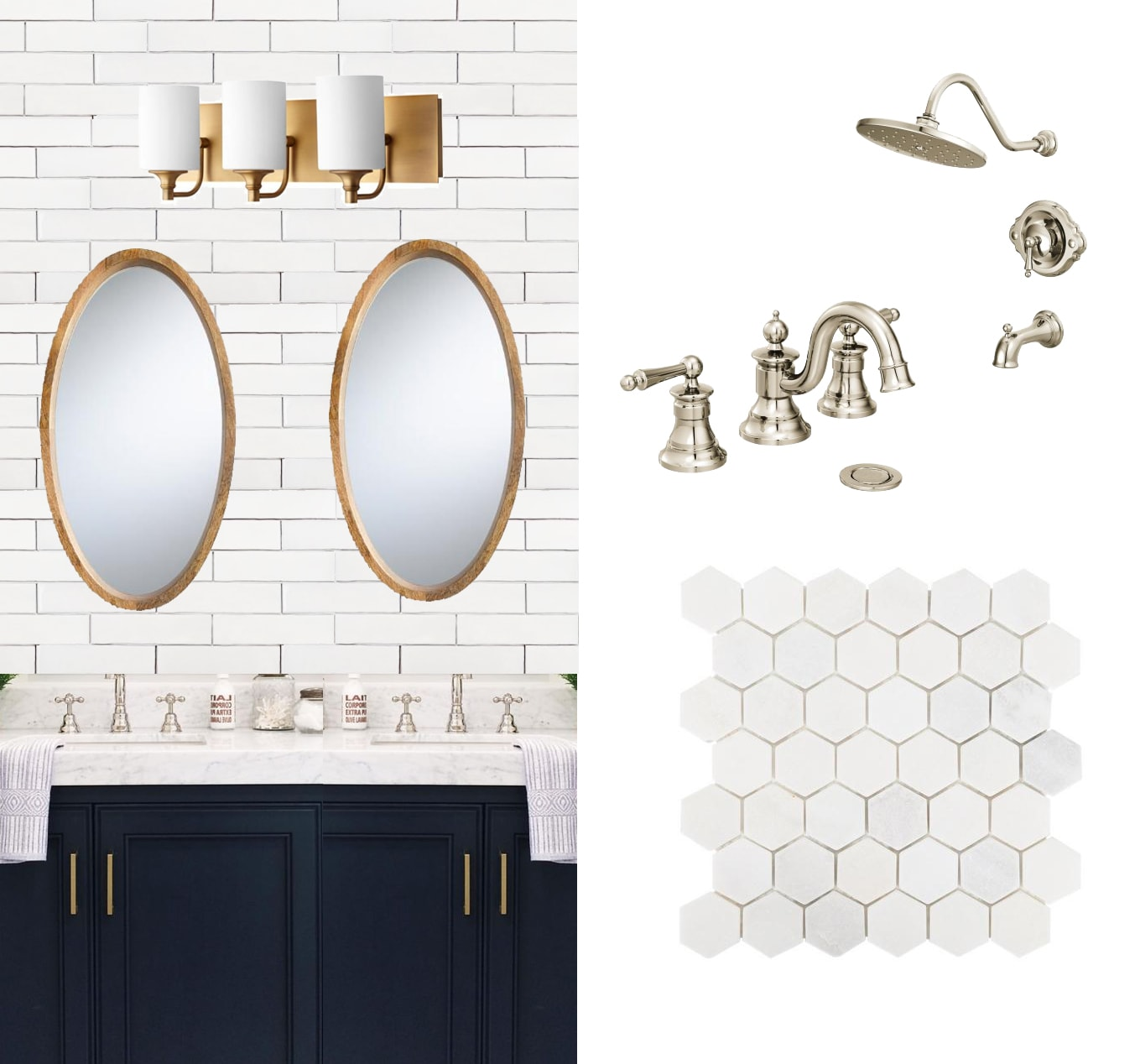 navy and marble bathroom design plans with sources