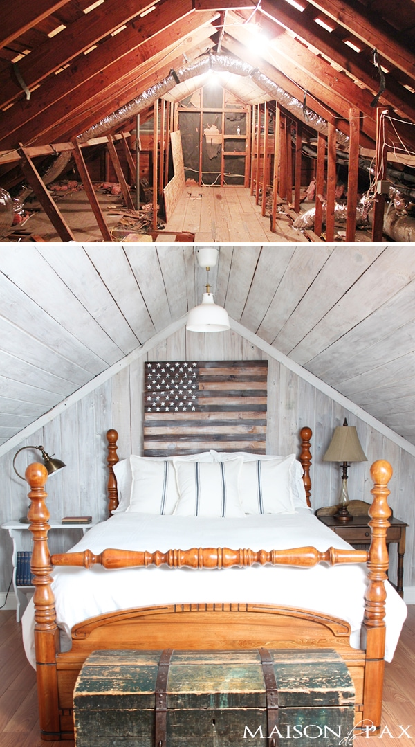 Incredible before after transformation on an old attic space turned bedroom hideaway