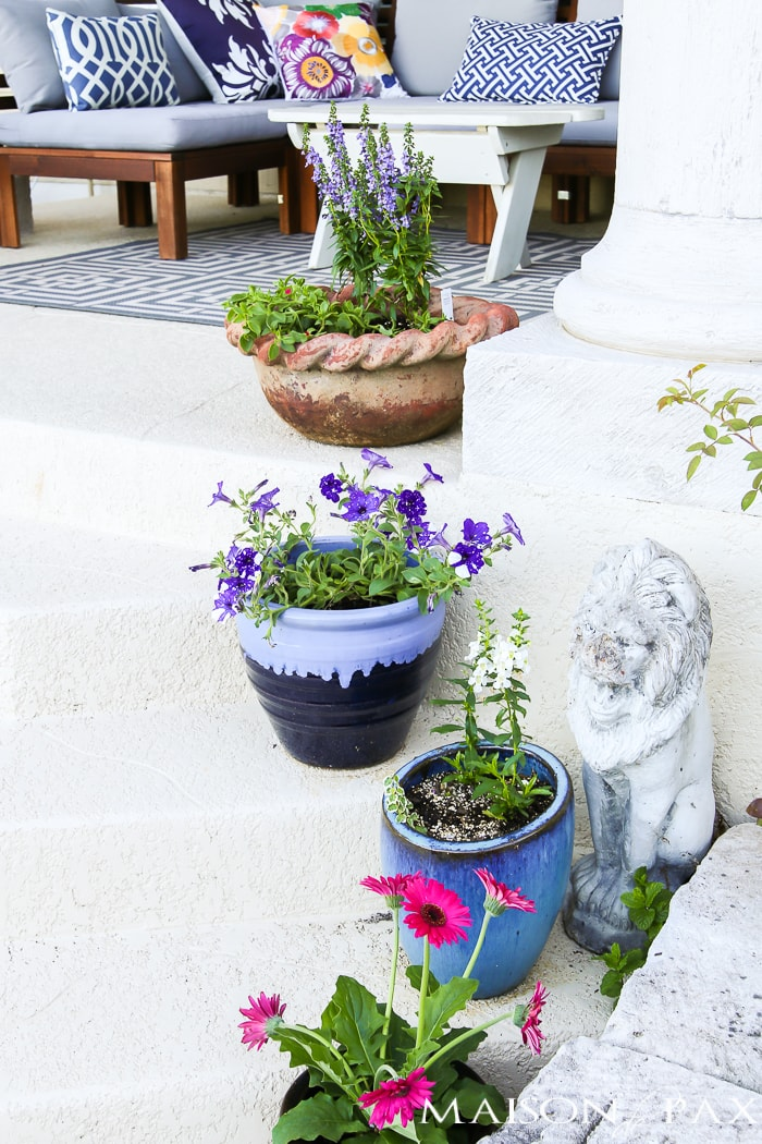 Spring planters filled with annual flowers- Maison de Pax