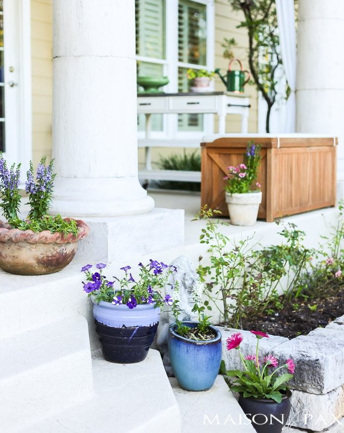 Spring planters filled with annuals- Maison de Pax