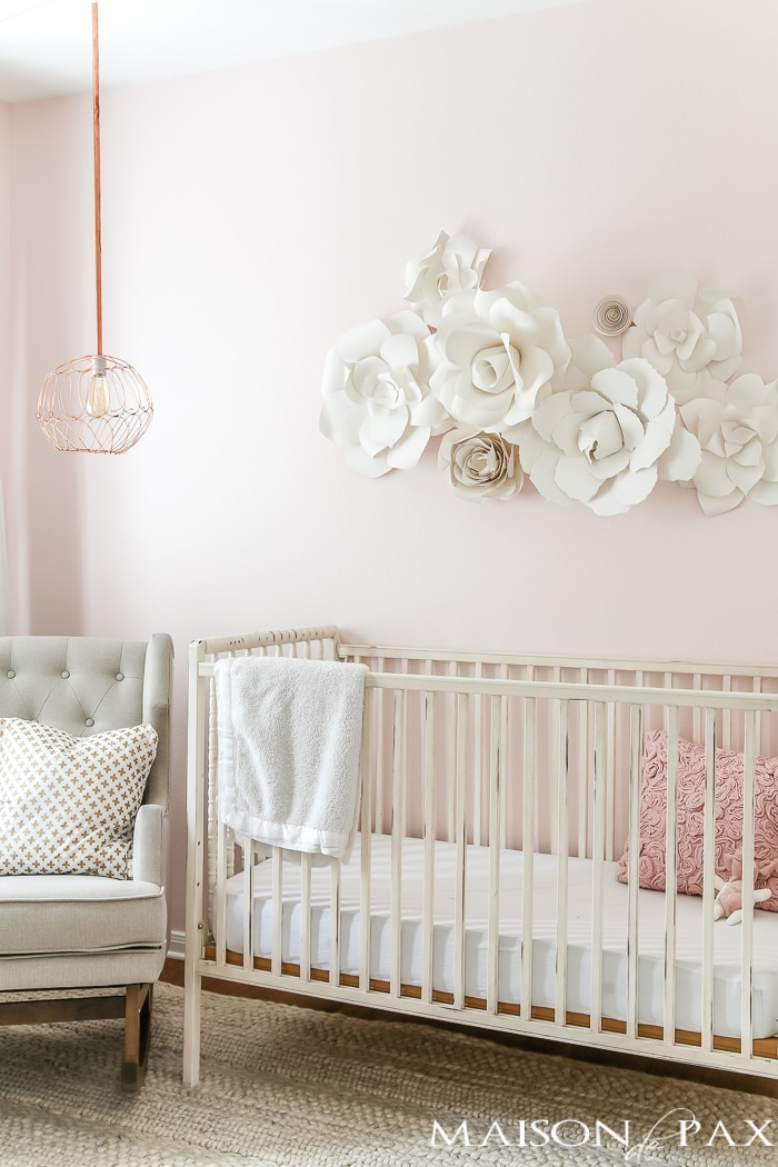 Paper flower wall art in the nursery maison de pax for Baby cot decoration ideas