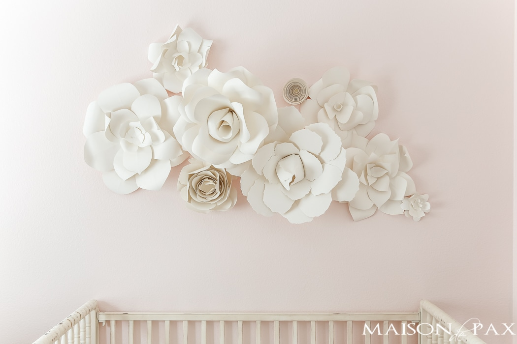 Paper flower wall art in the nursery maison de pax paper flowers as wall decor in a nursery what a gorgeous soft feminine mightylinksfo