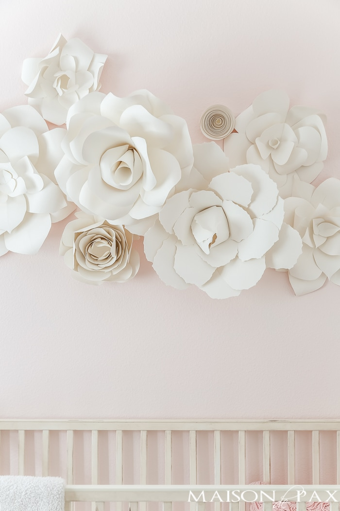 DIY Paper Flowers: Incredible! Learn how to make these gorgeous, elegant, giant paper flowers with this step by step tutorial. #paperflowers #wallart #nurserydecor #weddingdecor #handmade