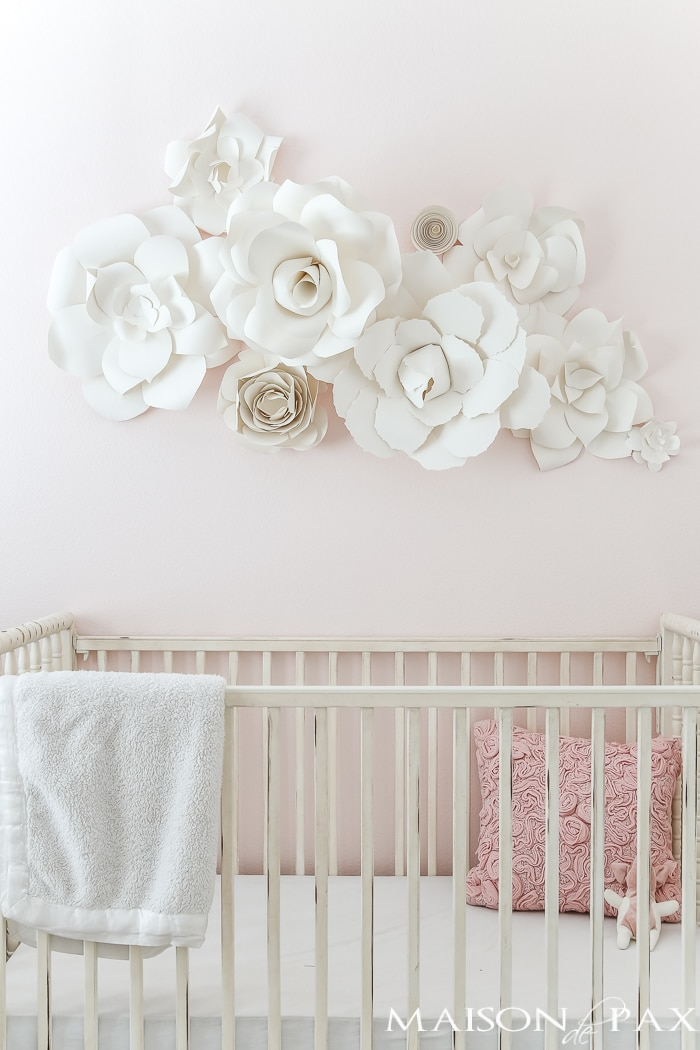 Paper flower wall art in the nursery maison de pax for Wall accessories