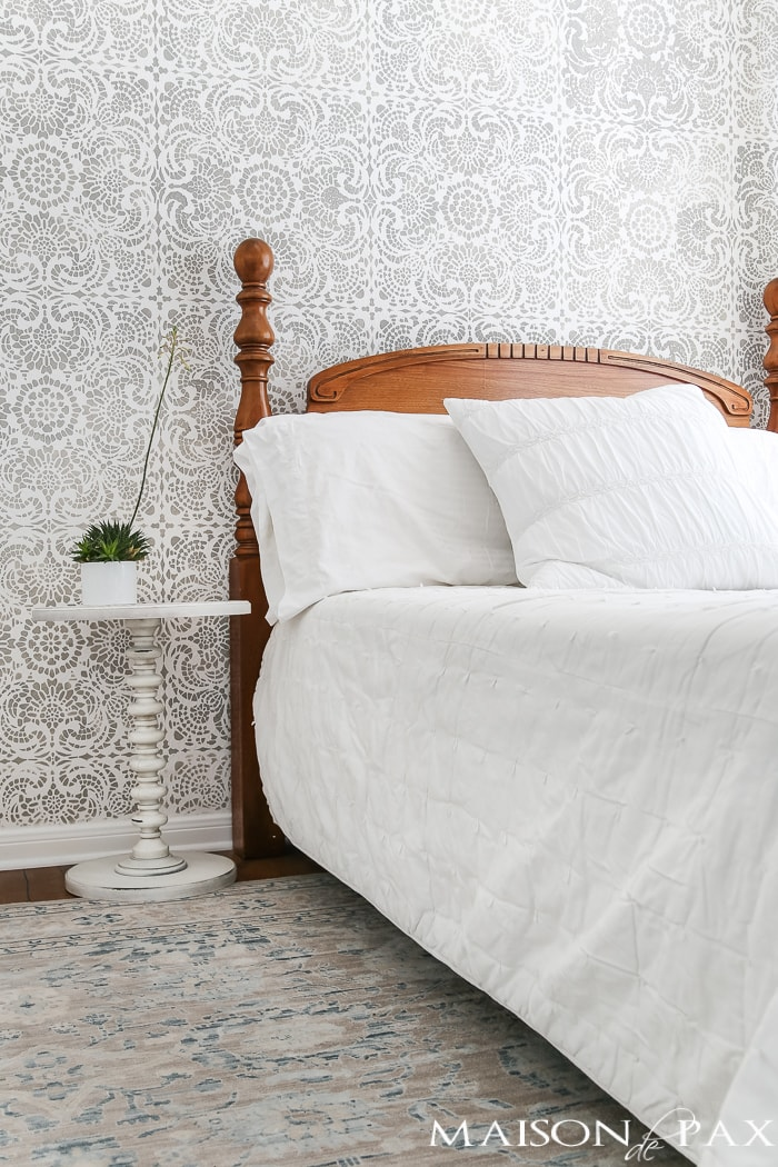 aloe in little white pot on bedside table   Maison de Pax