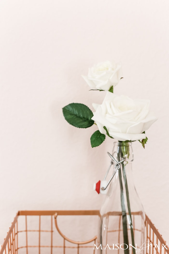 White rose and copper basket- Maison de Pax