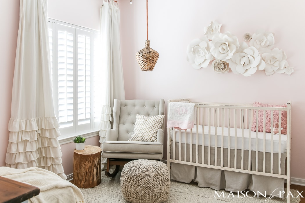 Soft and feminine baby girl nursery- Maison de Pax