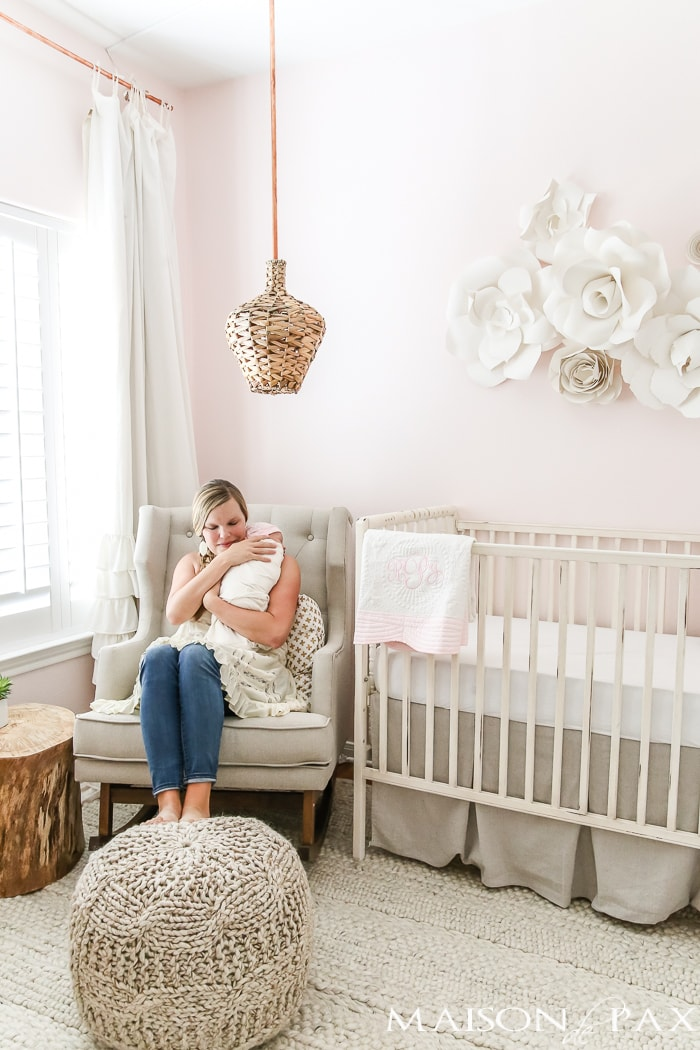 Blush nursery with wall art- Maison de Pax