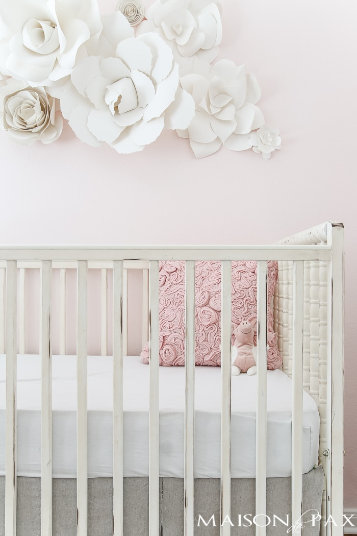 Baby girl crib and paper flower wall art- Maison de Pax