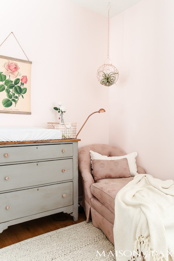 Baby changing dresser and feminine rose art- Maison de Pax