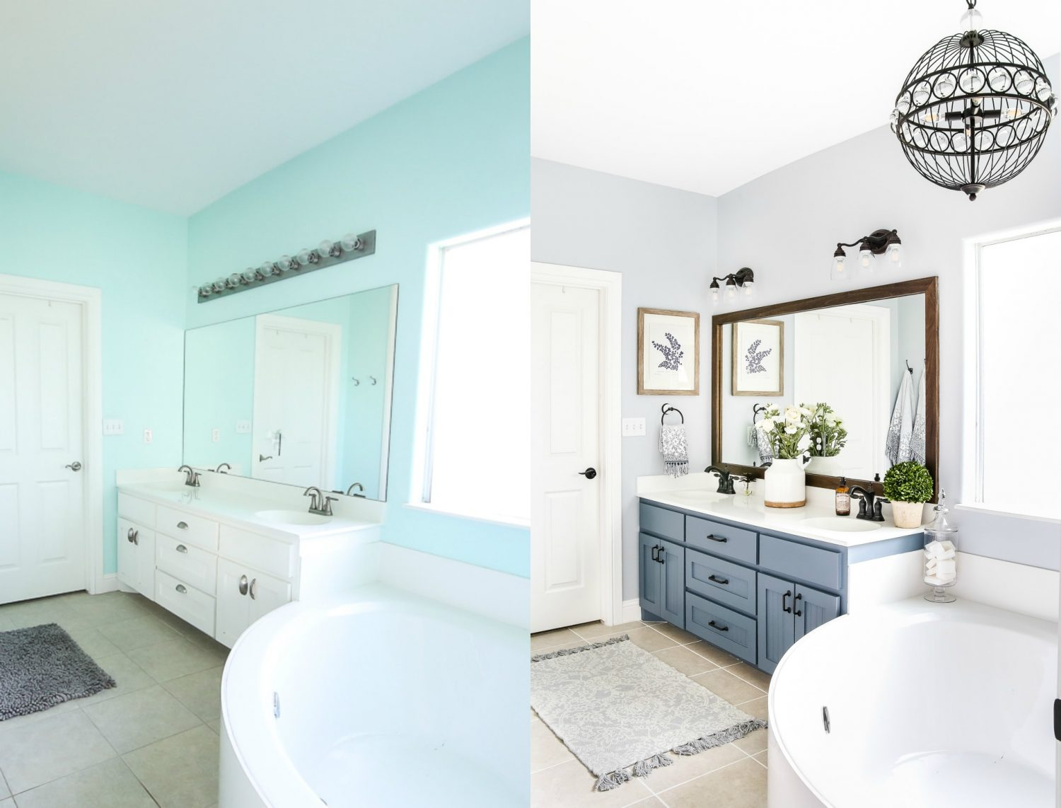 Before and after master bathroom renovation- Maison de Pax