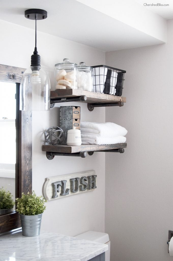 Add DIY shelving... and other budget ideas for remodeling your bathrooms!
