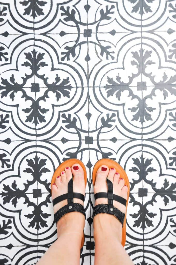 Paint your floors to look like cement tile! And other affordable bathroom budget makeover ideas...
