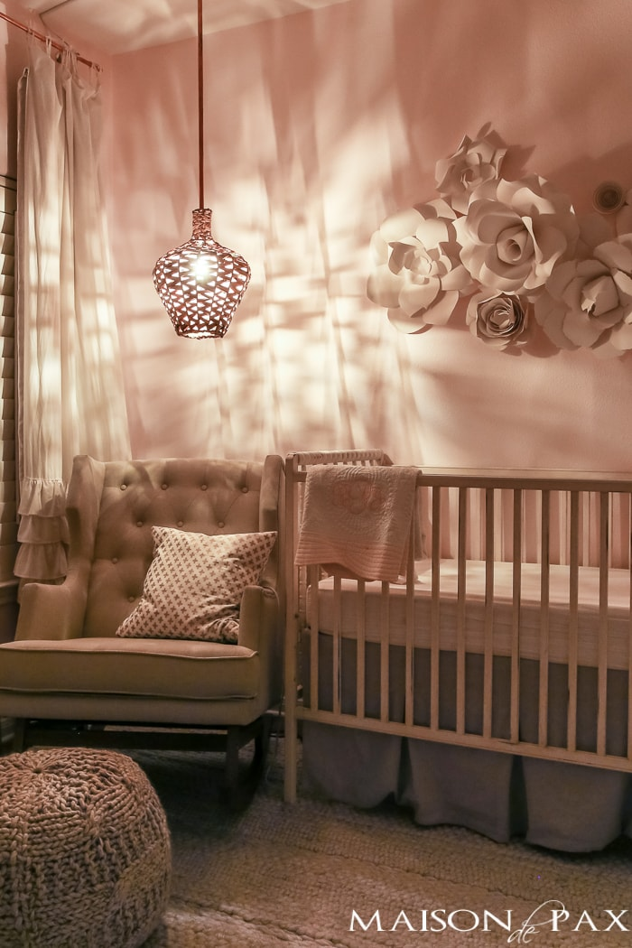 Looking for soft, feminine, modern nursery decor? With tons of textured neutrals and copper accents, this blush nursery is both sweet and sophisticated. Get ideas and inspiration for DIY projects and sources for your little girl's nursery!