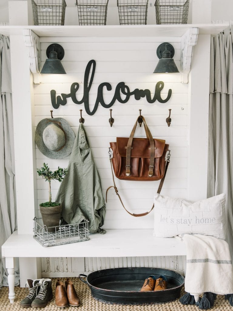 Mudroom with Welcome SIgn