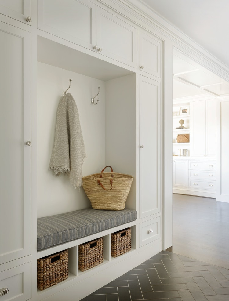 Simple white mudroom