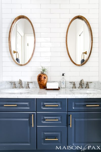 marble counters give this bathroom remodel a classic, upscale look