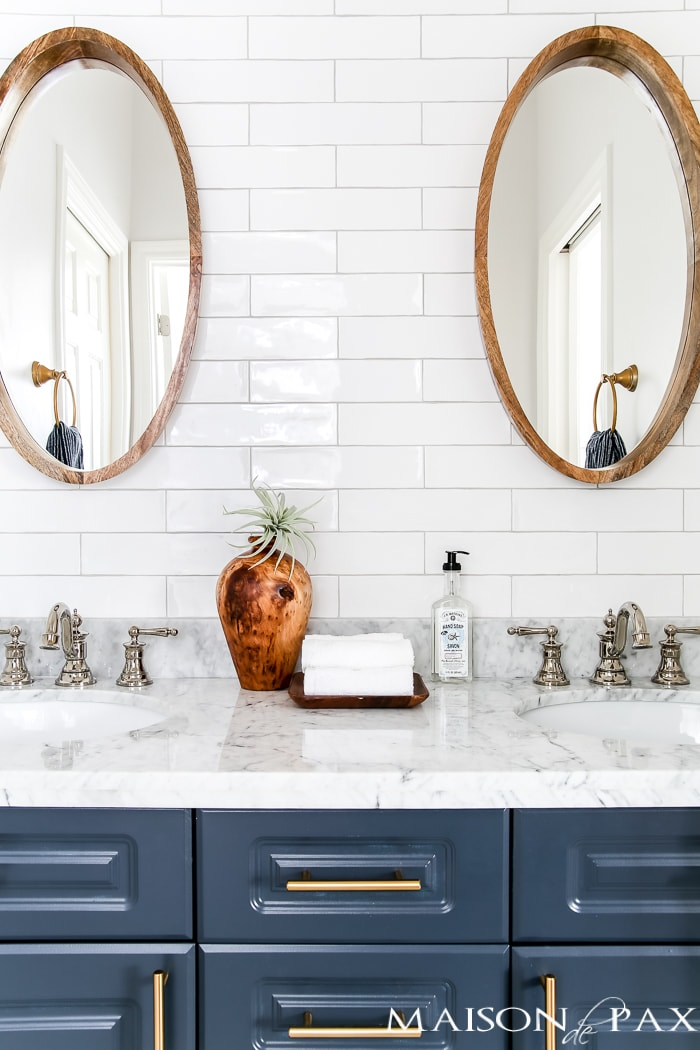 How to plan a bathroom remodel: where to splurge and save as well as sources for this beautiful space!