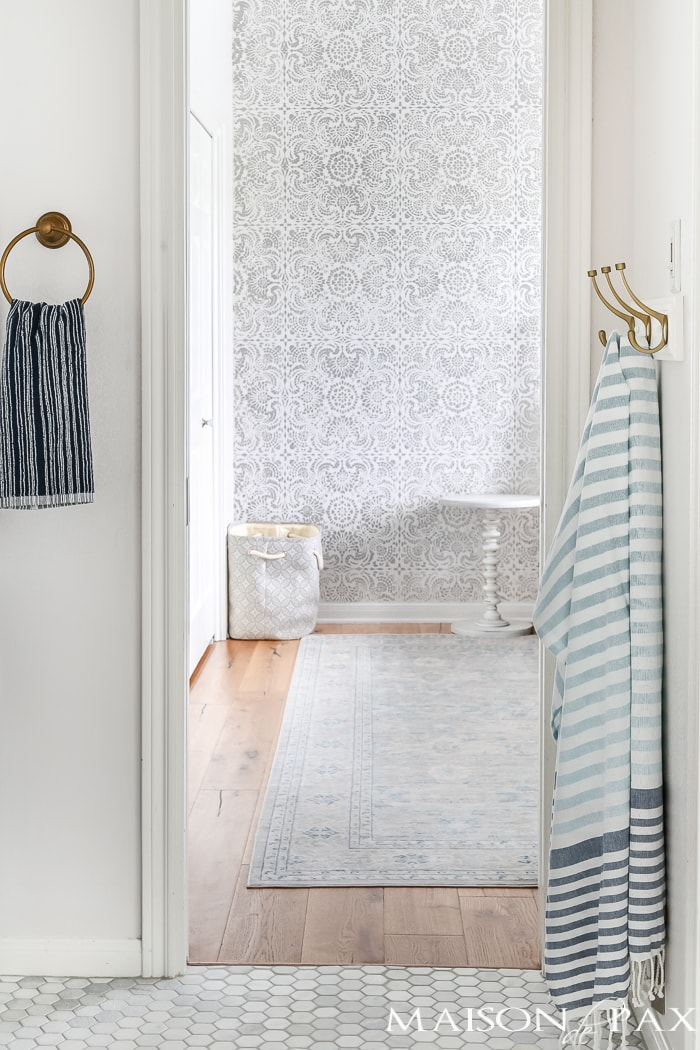 Blue And White Striped Towels Give This Classic Bath Remodel A Trendy,  Current Style
