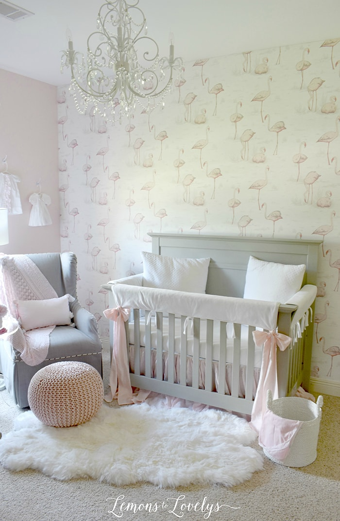 Gray and Pink Girl Nursery: blush tones, fun flamingo wallpaper, and lots of lovely neutrals make this a serene and beautiful space for any baby girl!