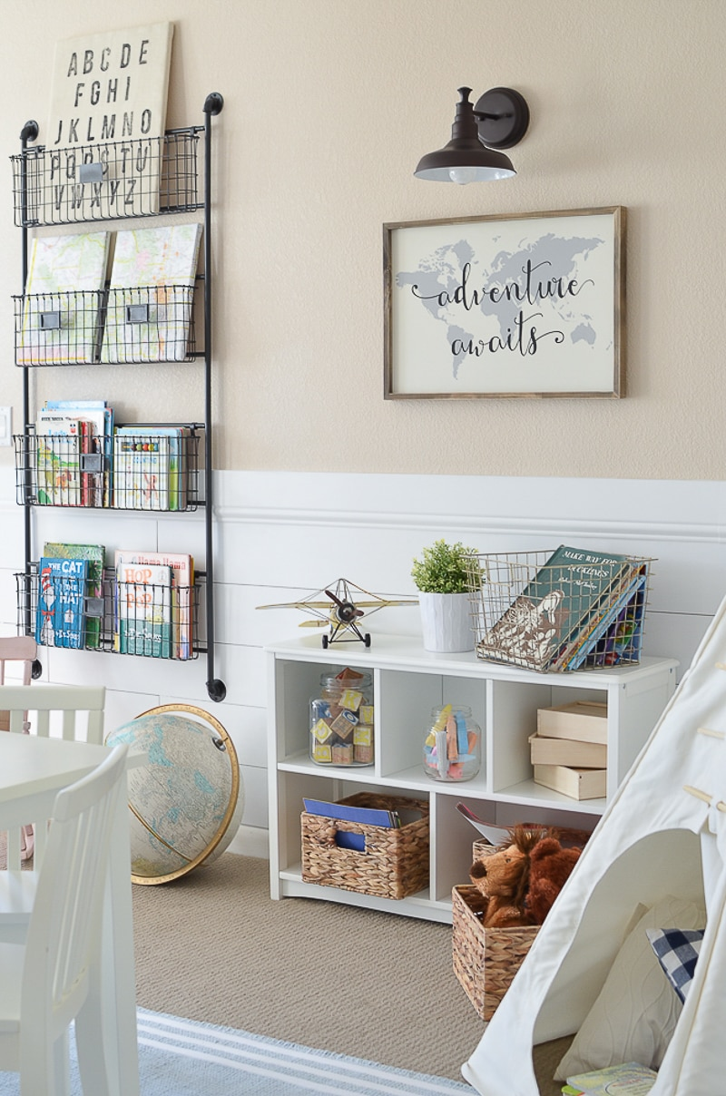 love the teepee in this reading nook! Schoolrooms, book nooks, and homework spaces: Find inspiration, design ideas, and organization tips for creating a study or reading space in your home!