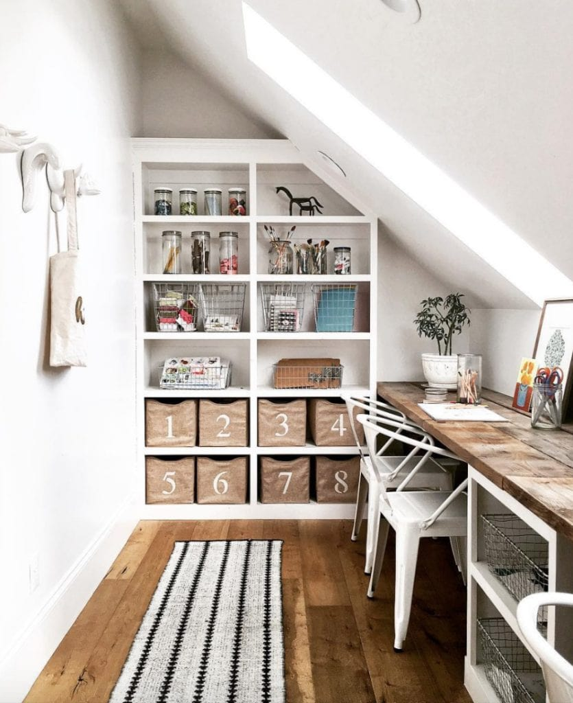 desk under the eaves... Schoolrooms, book nooks, and homework spaces: Find inspiration, design ideas, and organization tips for creating a study or reading space in your home!