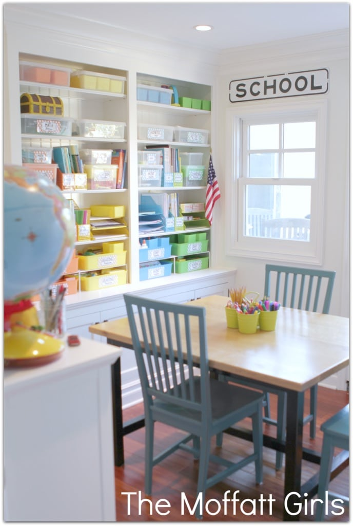Color coded organization! Schoolrooms, book nooks, and homework spaces: Find inspiration, design ideas, and organization tips for creating a study or reading space in your home!