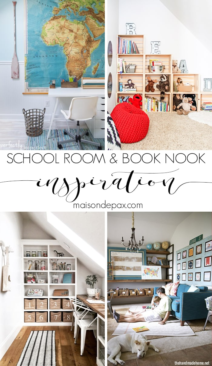 Schoolrooms, book nooks, and homework spaces: Find inspiration, design ideas, and organization tips for creating a study or reading space in your home!