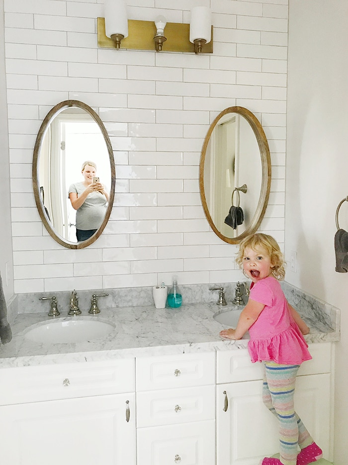 Bathroom with toddler- Maison de Pax