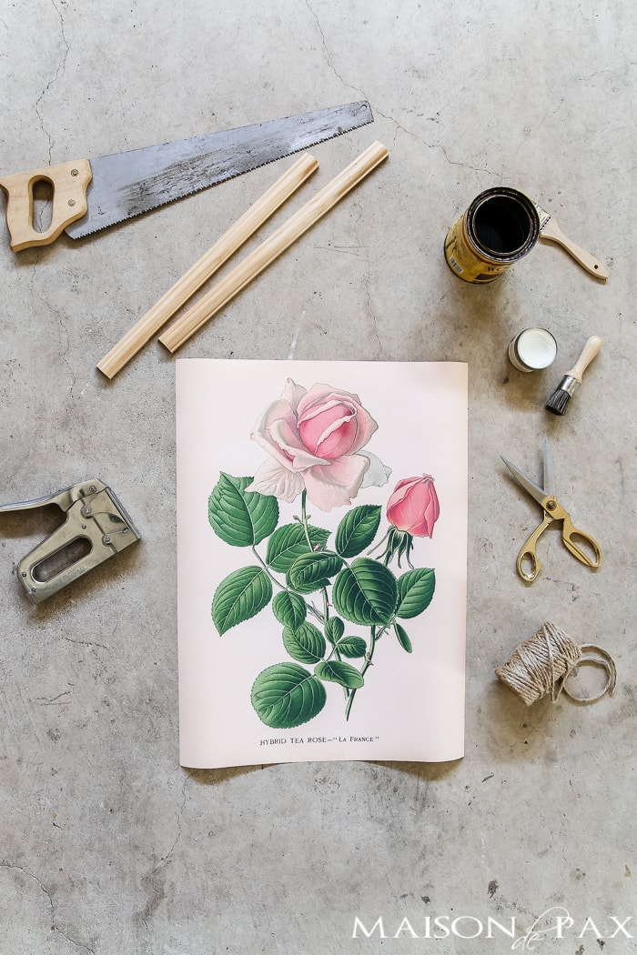 materials needed to create a diy hanging printable botanical: large, inexpensive wall art!