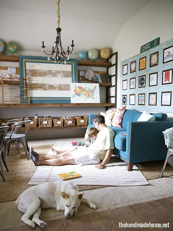 globes, baskets, and sweet family time... Schoolrooms, book nooks, and homework spaces: Find inspiration, design ideas, and organization tips for creating a study or reading space in your home!
