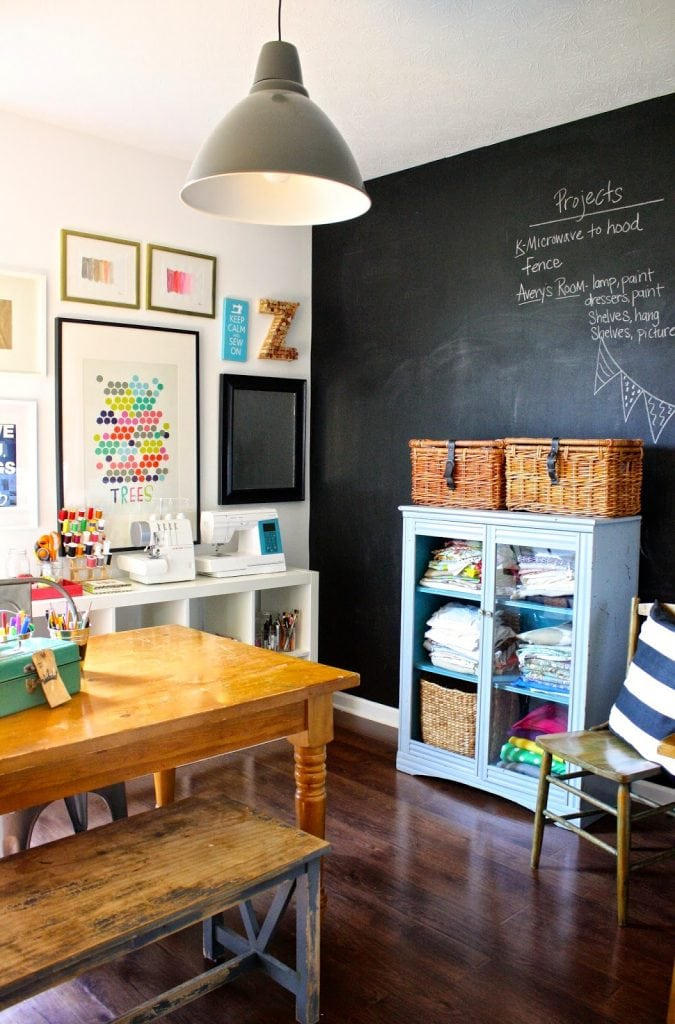 The good ol' chalkboard wall... Schoolrooms, book nooks, and homework spaces: Find inspiration, design ideas, and organization tips for creating a study or reading space in your home!