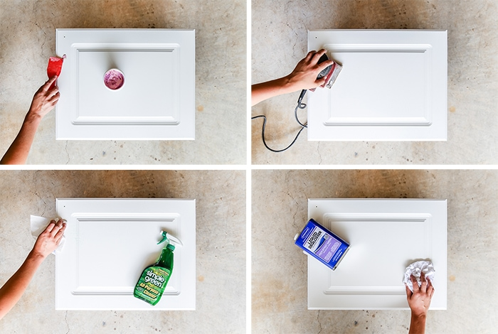 how to paint cabinets: proper preparation is ESSENTIAL! Fill, sand, clean, and degloss...