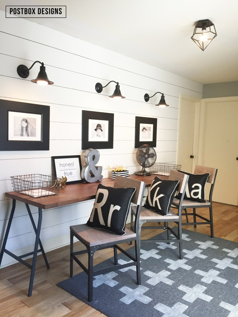 Love the wall sconces above the desk! Schoolrooms, book nooks, and homework spaces: Find inspiration, design ideas, and organization tips for creating a study or reading space in your home!