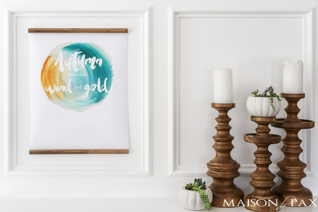 "free fall printable: gorgeous ""Autumn came with wind and gold"" to download and use for #falldecor"