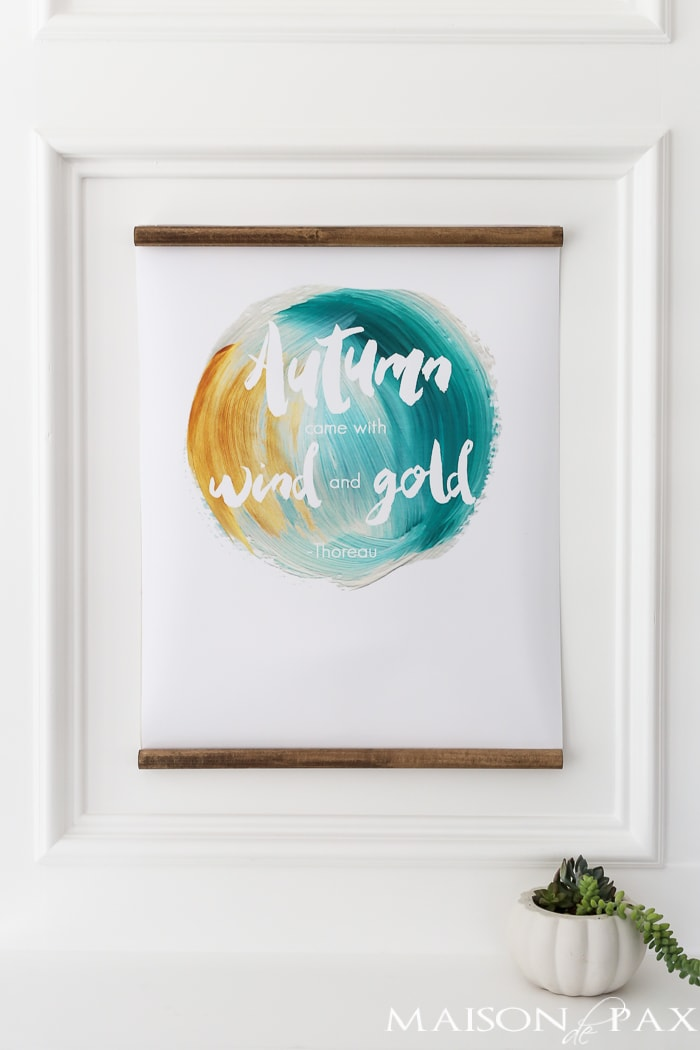 "free fall printable: ""autumn came with wind and gold"""