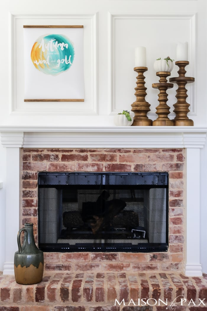 mantel with free fall printable #fallprintable