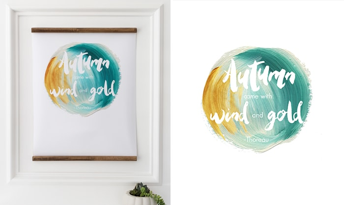 free fall printable: download this teal and gold fall printable for your home! #fallprintable