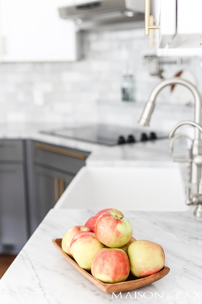 marble kitchen countertops with apples- Maison de Pax