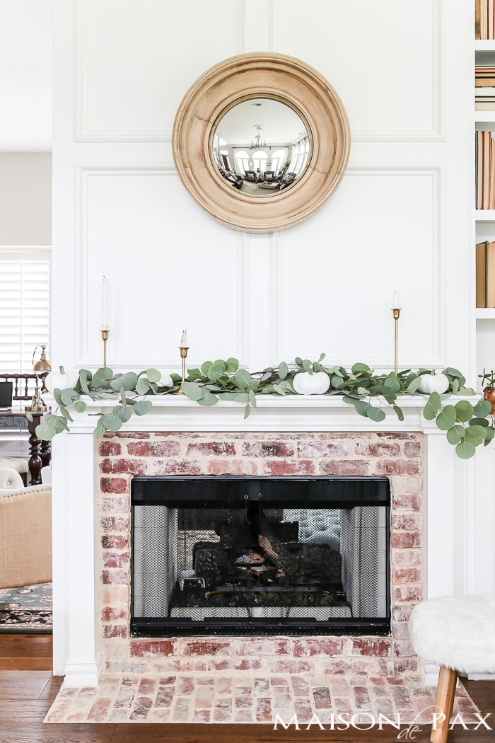 white mantel with white pumpkins and eucalyptus #falldecor